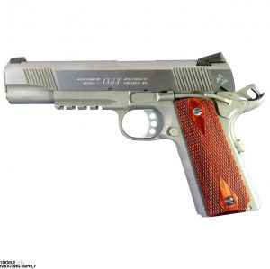 """Colt 1911 Rail Gun .45 ACP, 5"""" Barrel, Checkered Rosewood Grips, Stainless Finish, Tactical Rail, White Dot Carry Sights, 8 Round- Colt O1070RG"""
